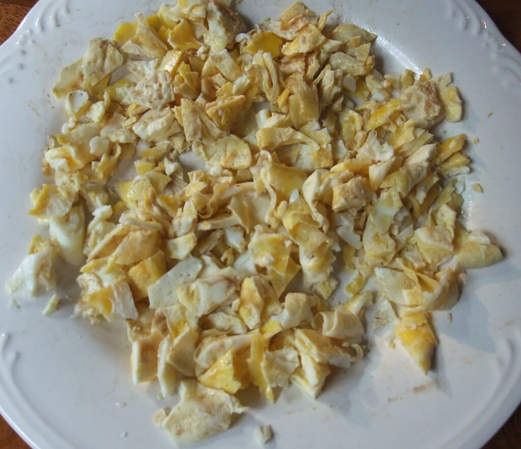 Chopped, cooked fried egg for fried rice.