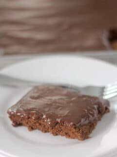 Chocolate Sheet Cake slice on plate