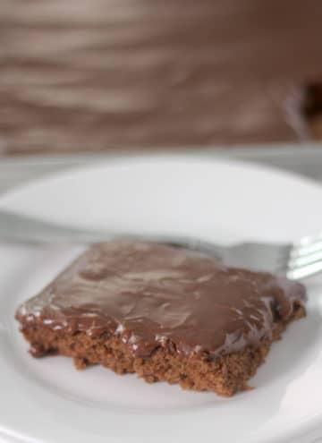 Chocolate Sheet Cake slice on plate