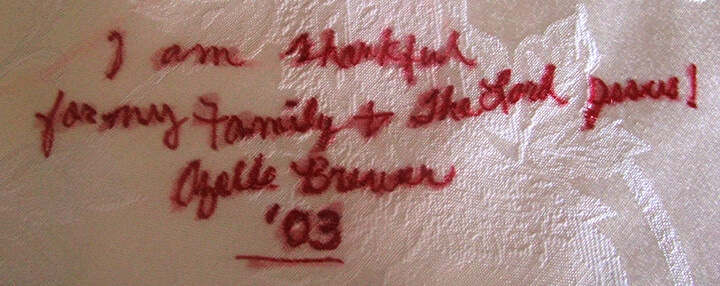 Quote from mother on the diy Thanksgiving decoration tablecloth.