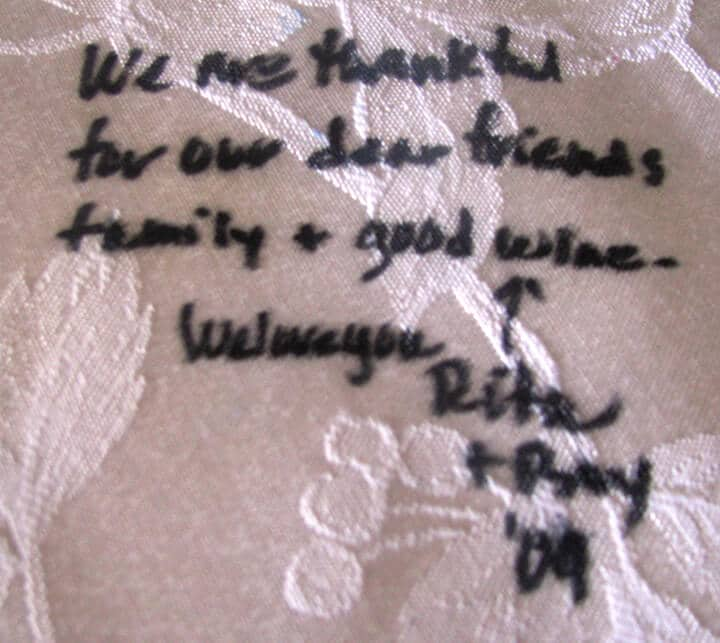 Friends quote on the tablecloth for Thanksgiving table ideas.