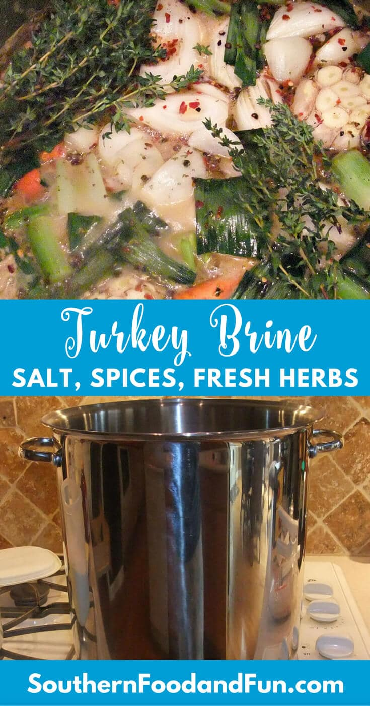 A good Turkey Brine can add subtle flavor to your turkey as well as keep it from getting dry. This recipe uses salt, spices, and fresh herbs for a classic, flavorful brine.