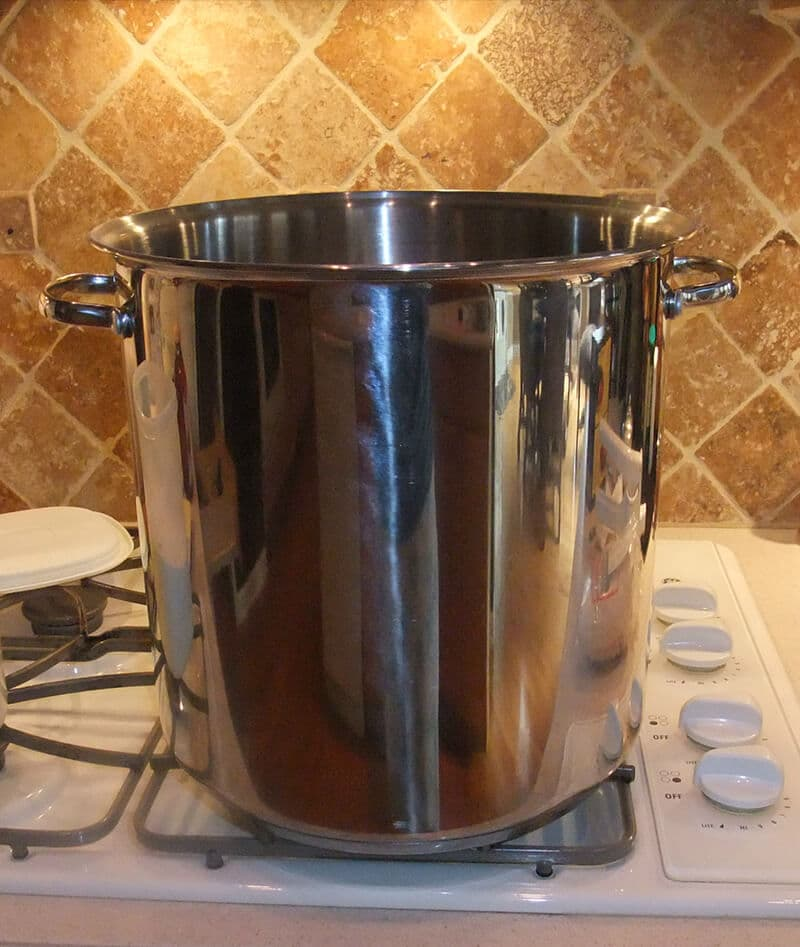 Large stock pot on stove to hold the turkey brine.