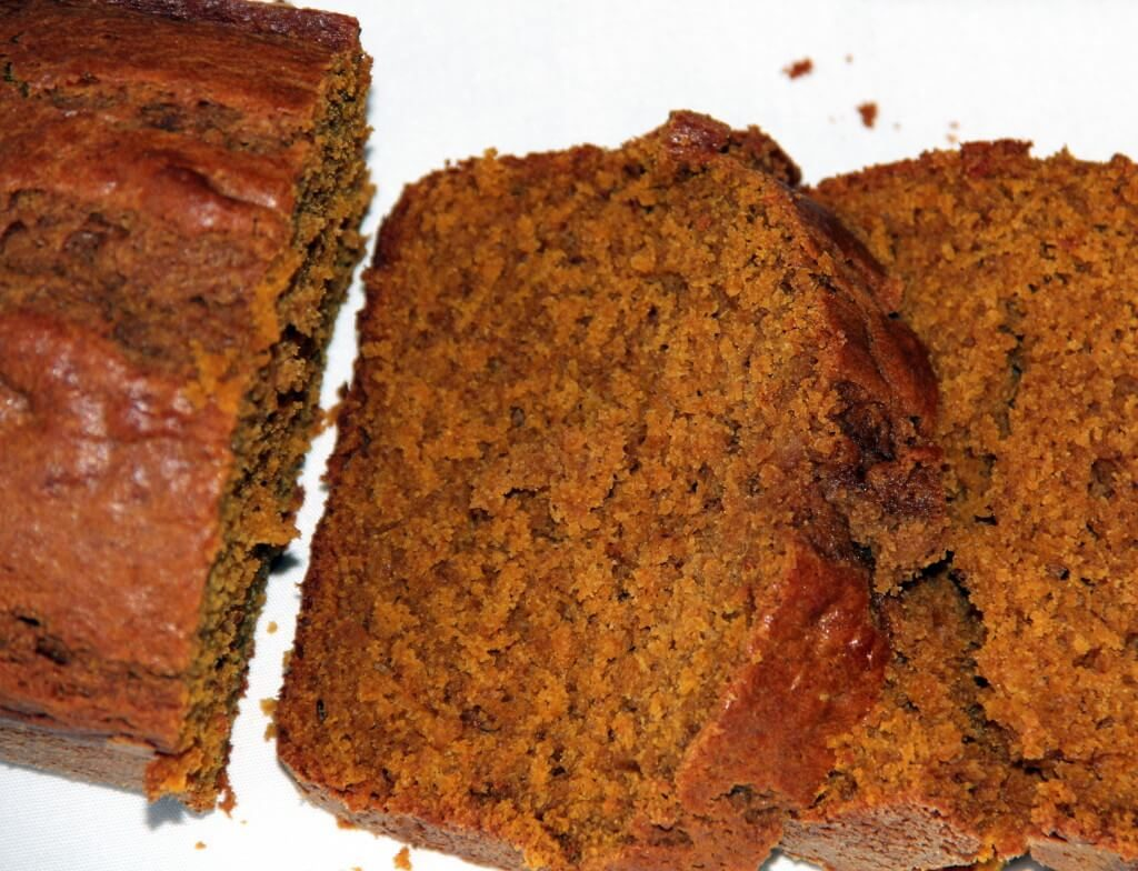 Slices of baked pumpkin bread.