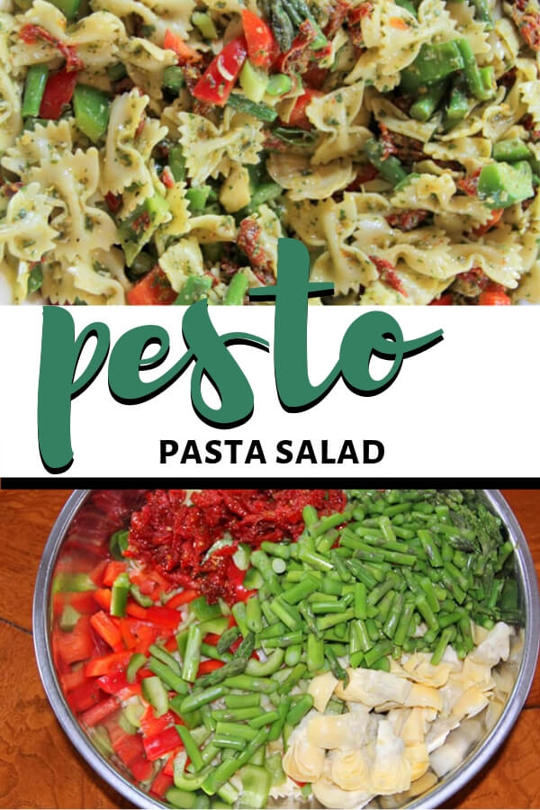 This colorful Pesto Pasta Salad has everything you could want: basil pesto, sundried tomatoes, asparagus, lemon zest...it's overflowing with flavor and color and pizazz!