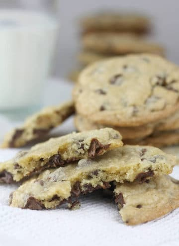 Best chocolate chip cookies with a bite taken out.