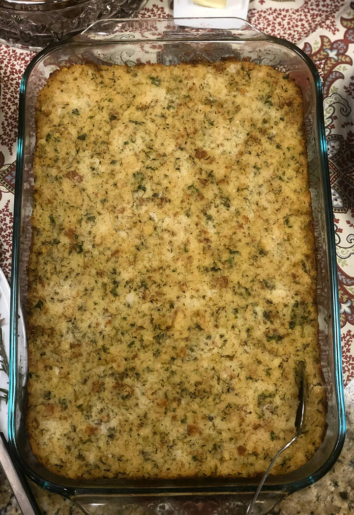 Overhead view of baked soul food cornbread dressing.