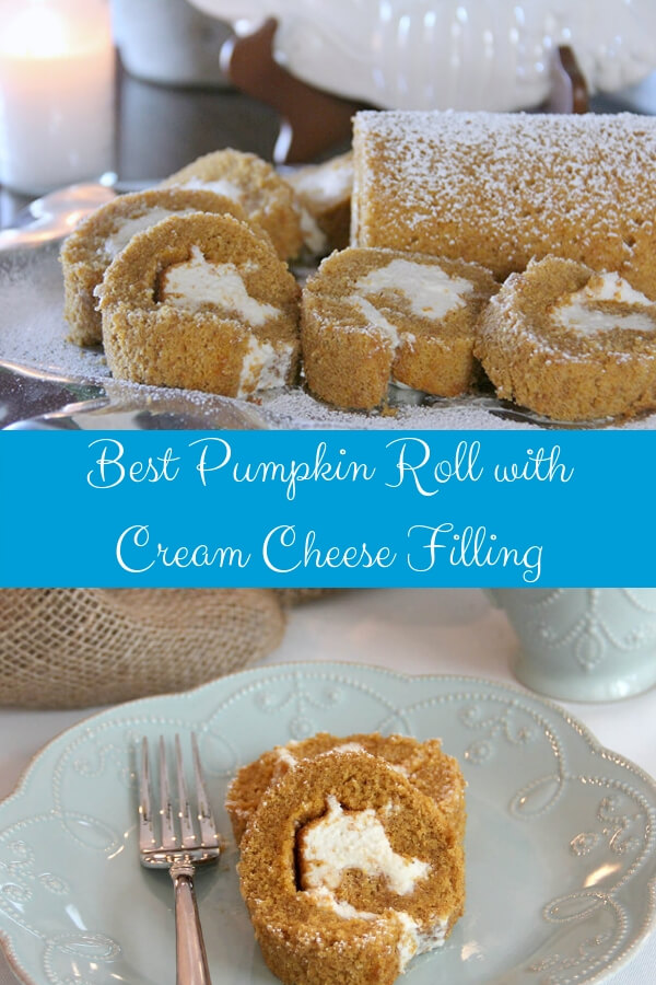 Pumpkin Roll is a must-have dessert come fall! It's easy and impressive and this recipe makes the BEST pumpkin roll with cinnamon, ginger, nutmeg, and cloves—with a smooth and creamy filling from cream cheese and powdered sugar. #pumpkinroll #pumpkin #pumpkinrecipes #pumpkinspice