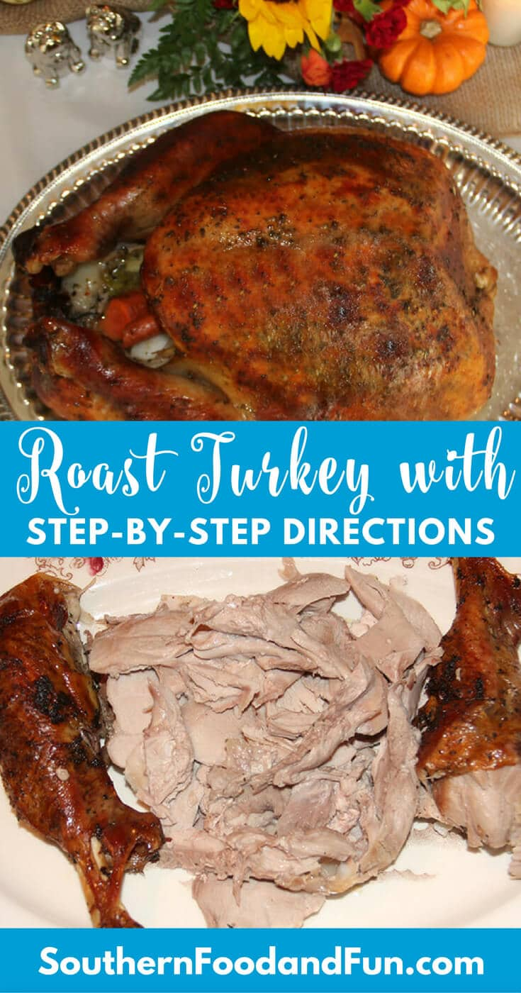 Roast Turkey is the centerpiece of your Thanksgiving table, so it's important to get it right! Brine the turkey and slather it with herb butter for a perfect roast turkey every time!
