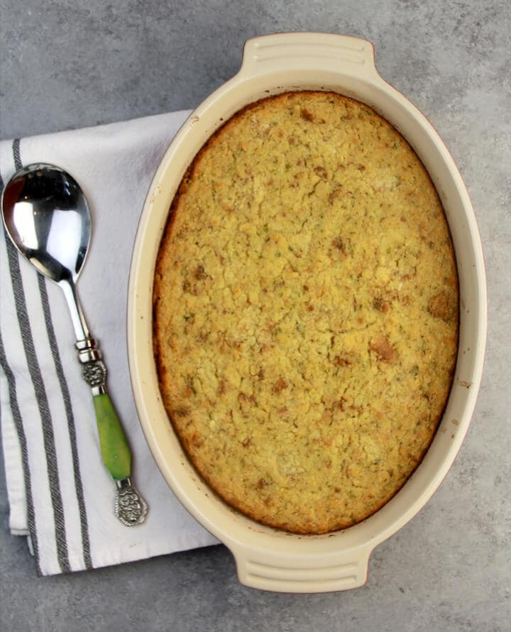Overhead of baked Southern cornbread dressing recipe.