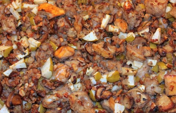 Apple Sausage Stuffing with apples, mushrooms, sausage, and is a great side dish.