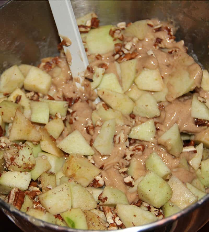 Caramel Apple Cake apples and nuts in bowl