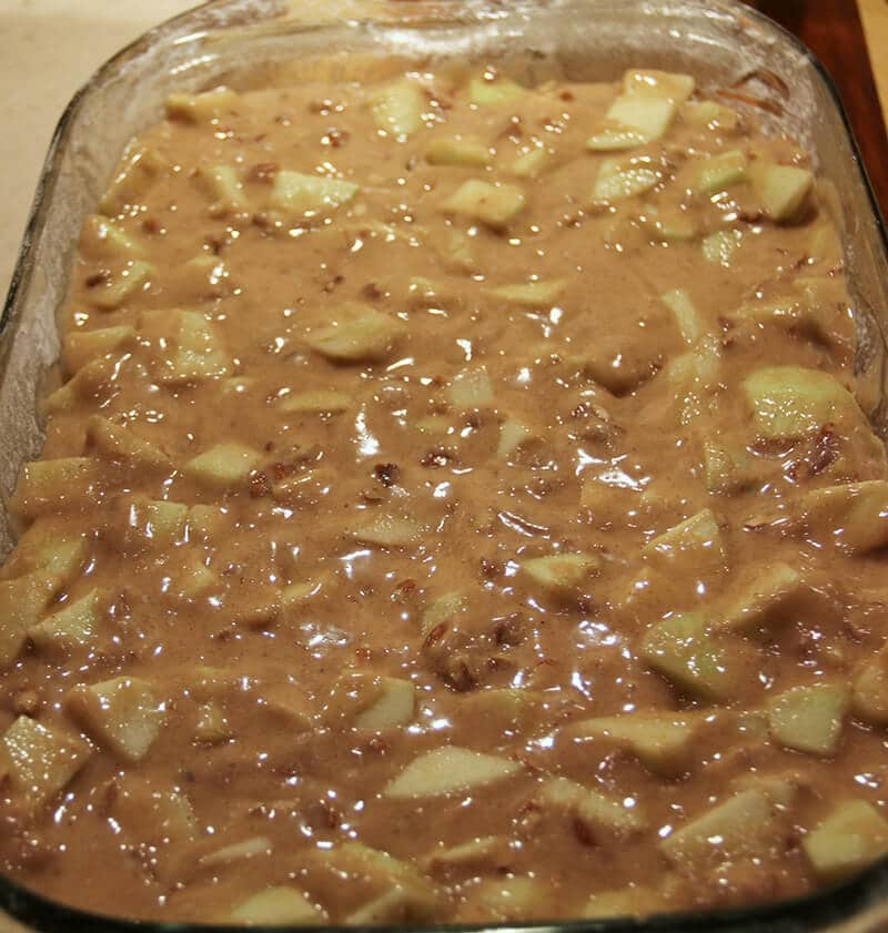 Caramel Apple Cake ready to bake in dish.