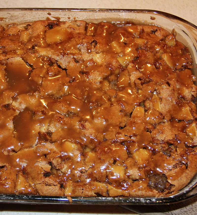 Caramel Apple Cake baked in dish