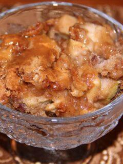 Caramel Apple Cake serving in a bowl.
