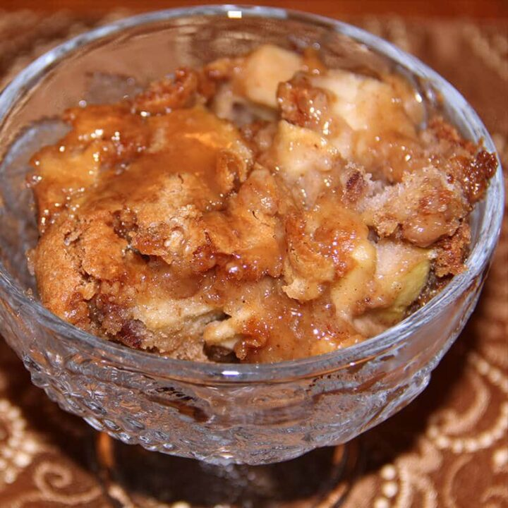 Caramel Apple Cake serving in a bowl.