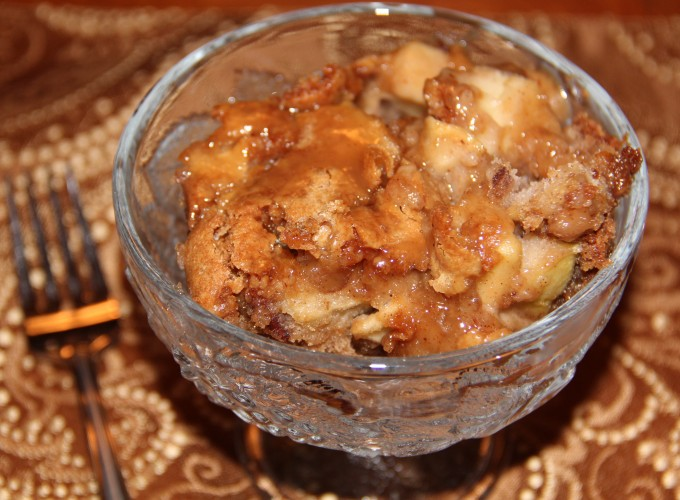bowl of caramel apple cake