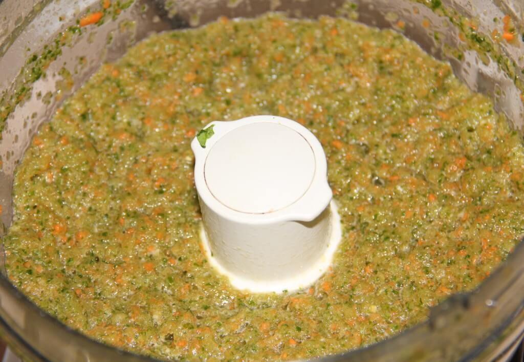 The pestata pureed in the food processor.