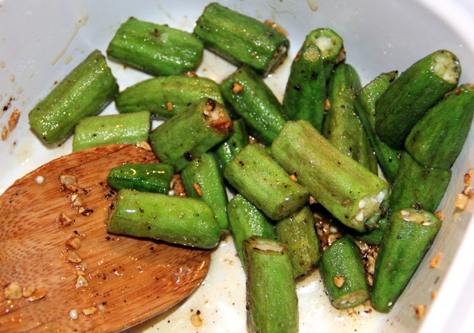 Add honey to okra.