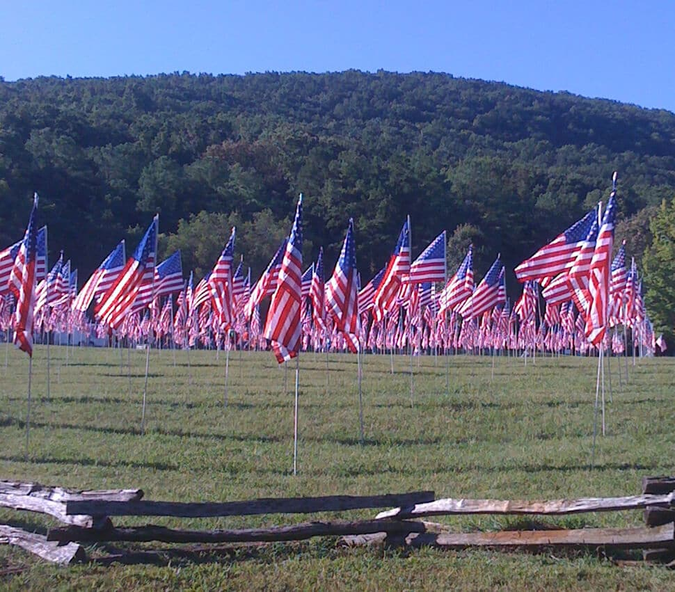 Flags flying over the field at Kennesaw Mountain.