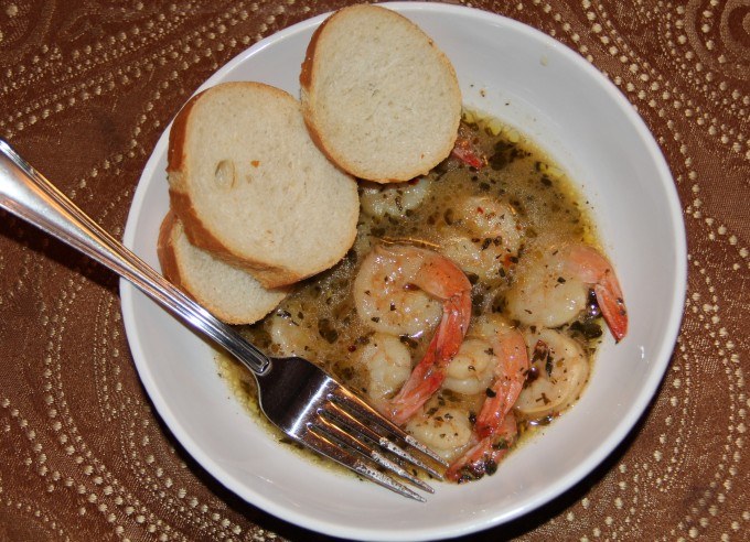 bowl of french quarter or barbecue shrimp