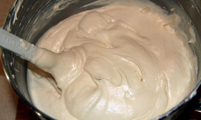 mixing batter for layer cake