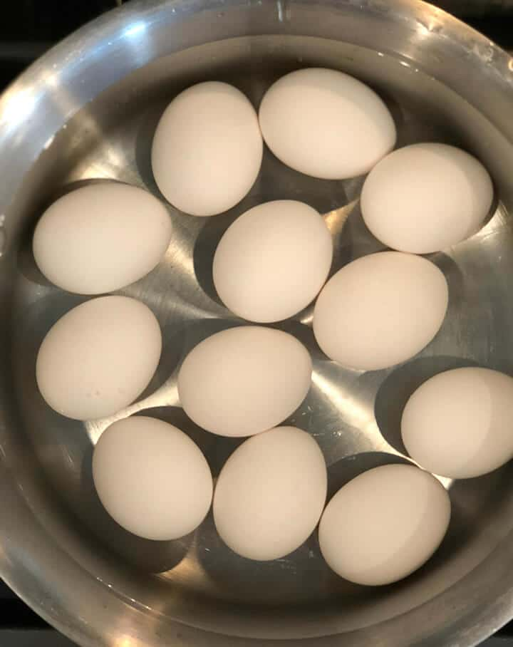 Eggs in a pot with water to boil for deviled eggs.