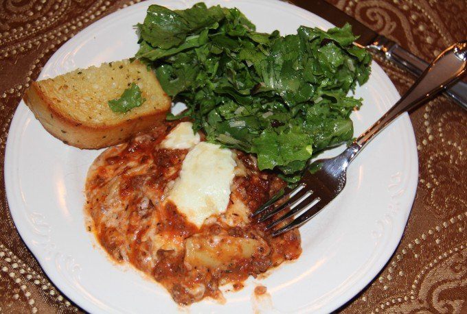 plate of lasagna with bolognese sauce