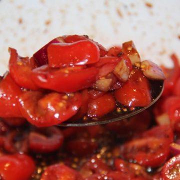 tomato salad with balsamic reduction