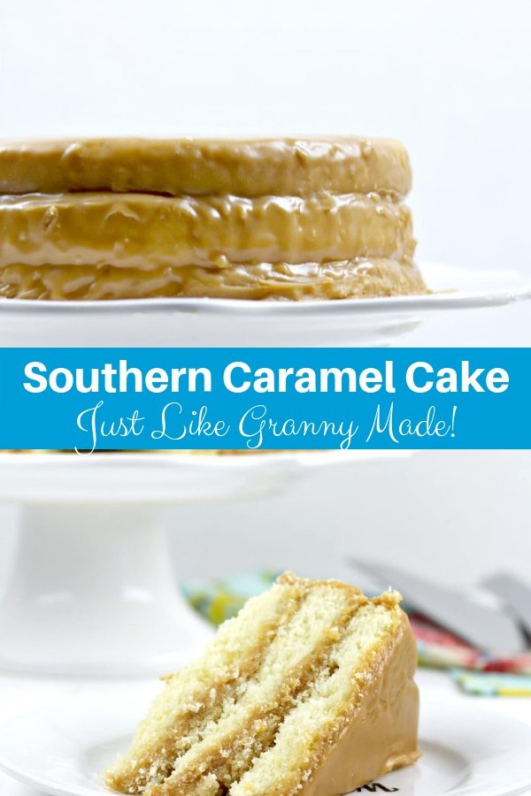 Southern caramel cake with homemade caramel icing from butter, sugar, and cream. This one tastes just like Grandma's!