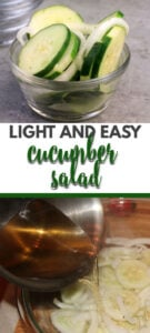 Cucumber and Onion Salad is a simple, classic Southern recipe of just sliced cucumbers and onions in vinegar. The cucumbers are crisp and tangy with a touch of sweetness—perfect for a snack or simple side dish.