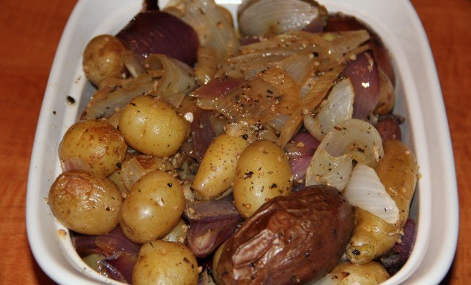 potatoes, onion, and fennel in dish