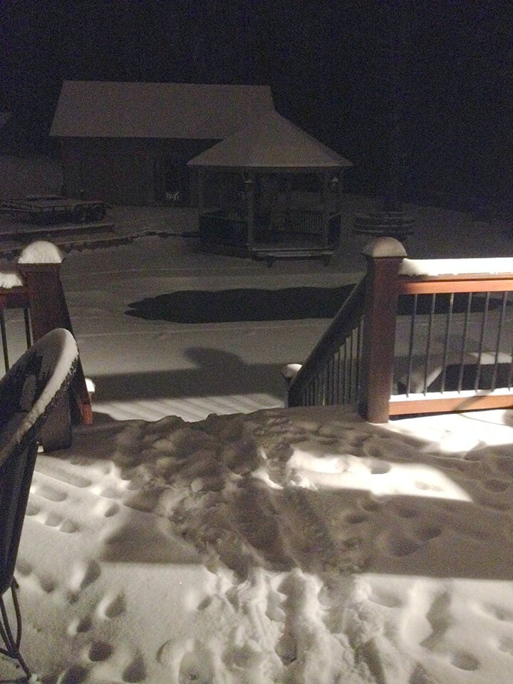 A deck covered with snow from the Atlanta snow storm.