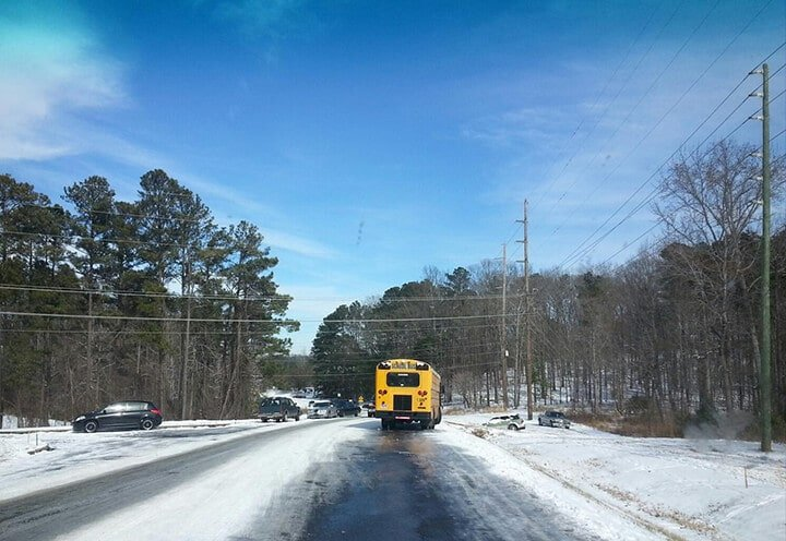 Abandoned school bus during Atlanta snow storm 2014.