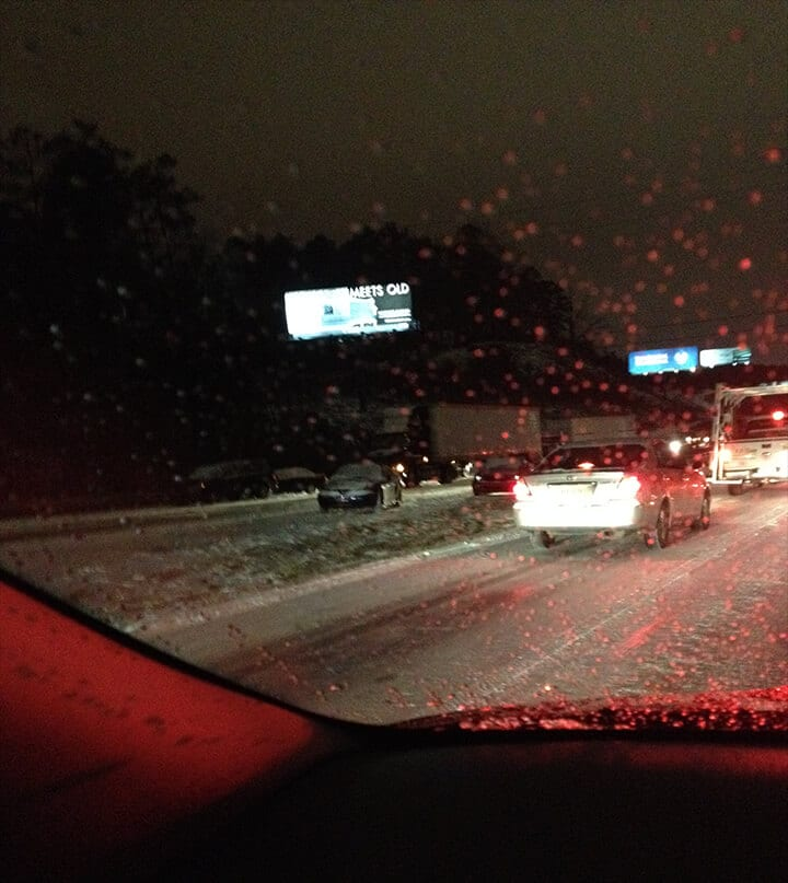 Night driving on icy roads after Atlanta snow.
