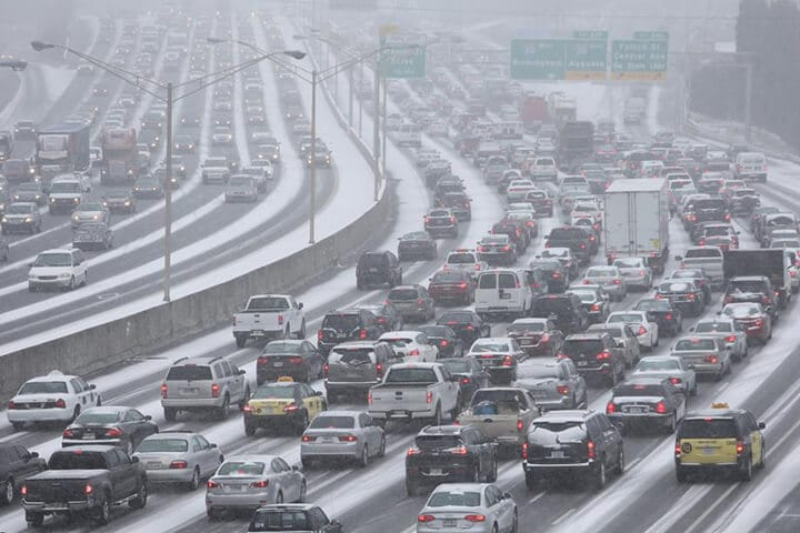 Photo of the massive gridlock on Atlanta roads due to the Atlanta snow storm.