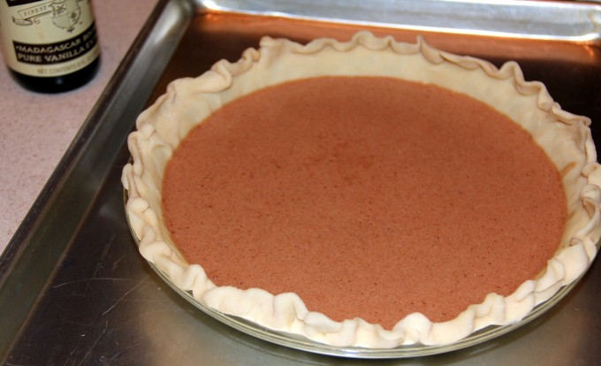 Chocolate chess pie ready to bake