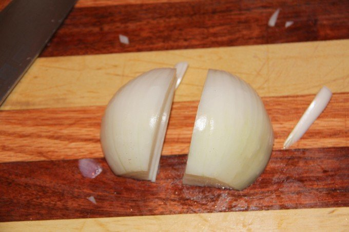 cut onions in half and then slice