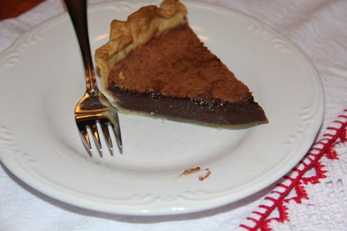 slice of chocolate chess pie