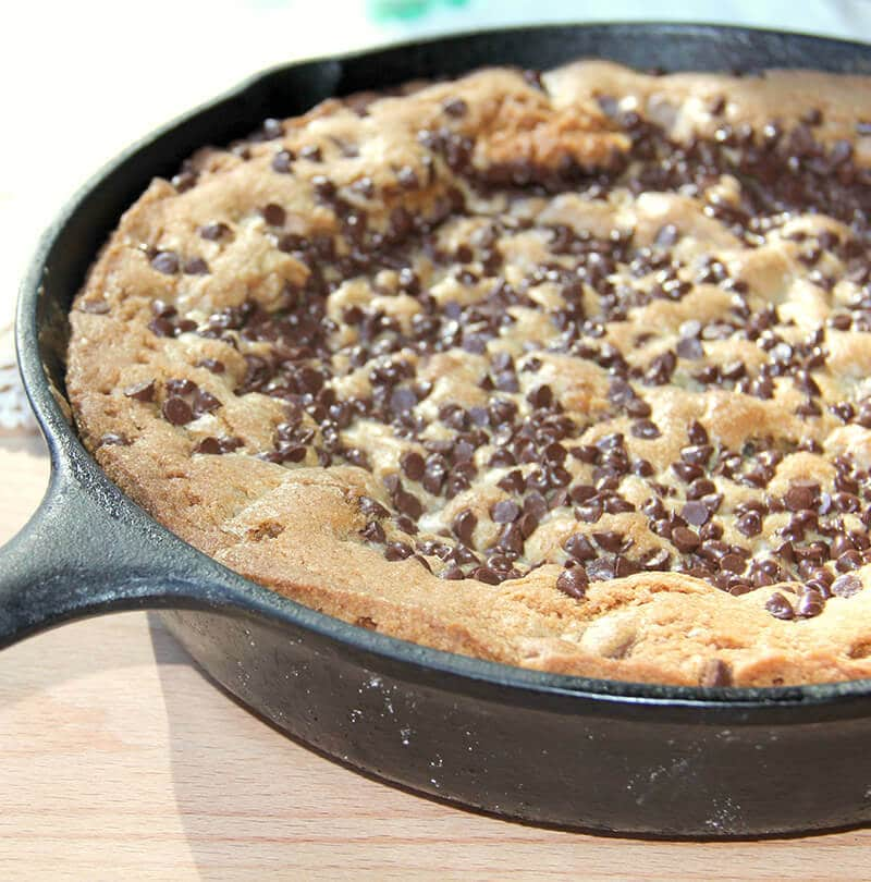 Chocolate Chip Cookie Pie is made with semi-sweet and milk chocolate chips, extra brown sugar and butter—and more chocolate sprinkled on top!