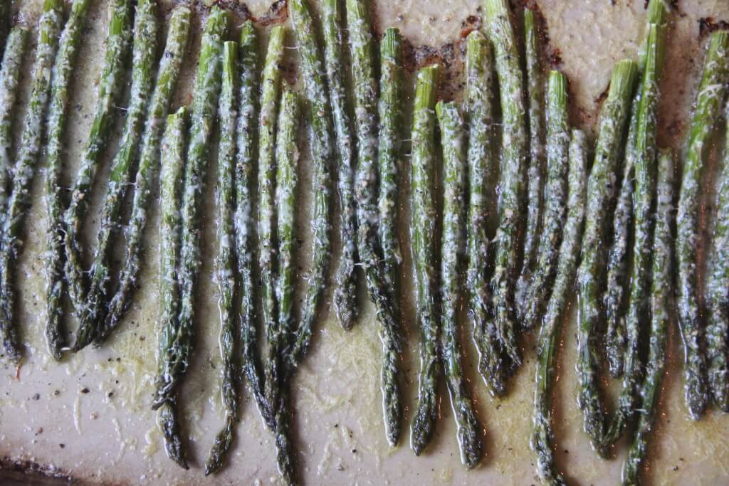 Parmesan Roasted Asparagus on a baking sheet