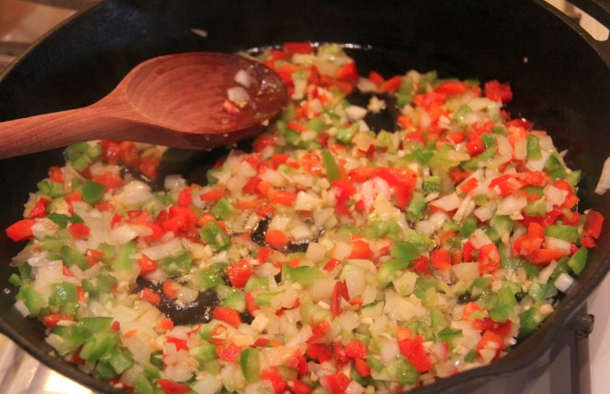 Saute peppers and onions.   InaSouthernKitchen.com