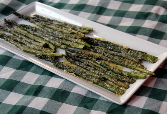 Roasted asparagus with parmesan on a plate