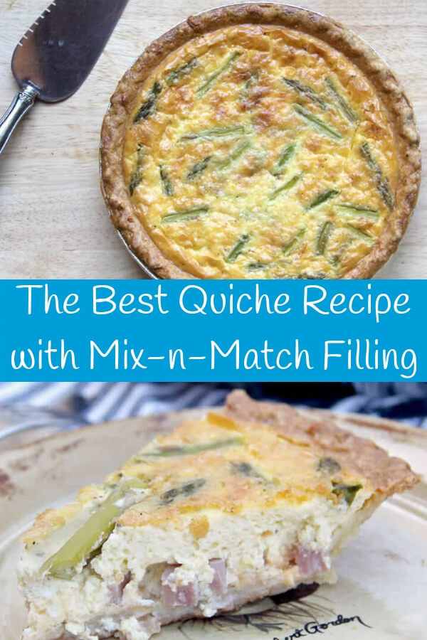 Easy quiche recipe with a rich custard and mix and match fillings—put anything you like! This silky, rich quiche is the best we've ever tasted and guests always come back for seconds!