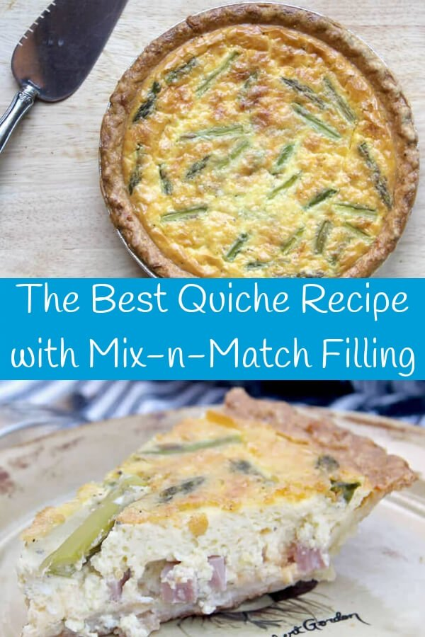 Easyquiche recipe with a rich custard and mix and match fillings—put anything you like! This silky, rich quiche is the best we've ever tasted and guests always come back for seconds!