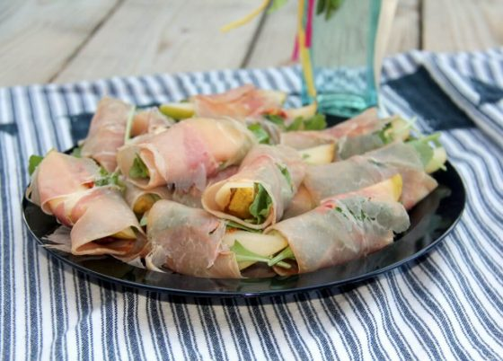 Pears wrapped with prosciutto