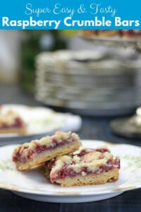 Raspberry Bars made with a buttery shortbread base and topped with easy raspberry filling and a yummy shortbread streusel sprinkled on top. They are divine.