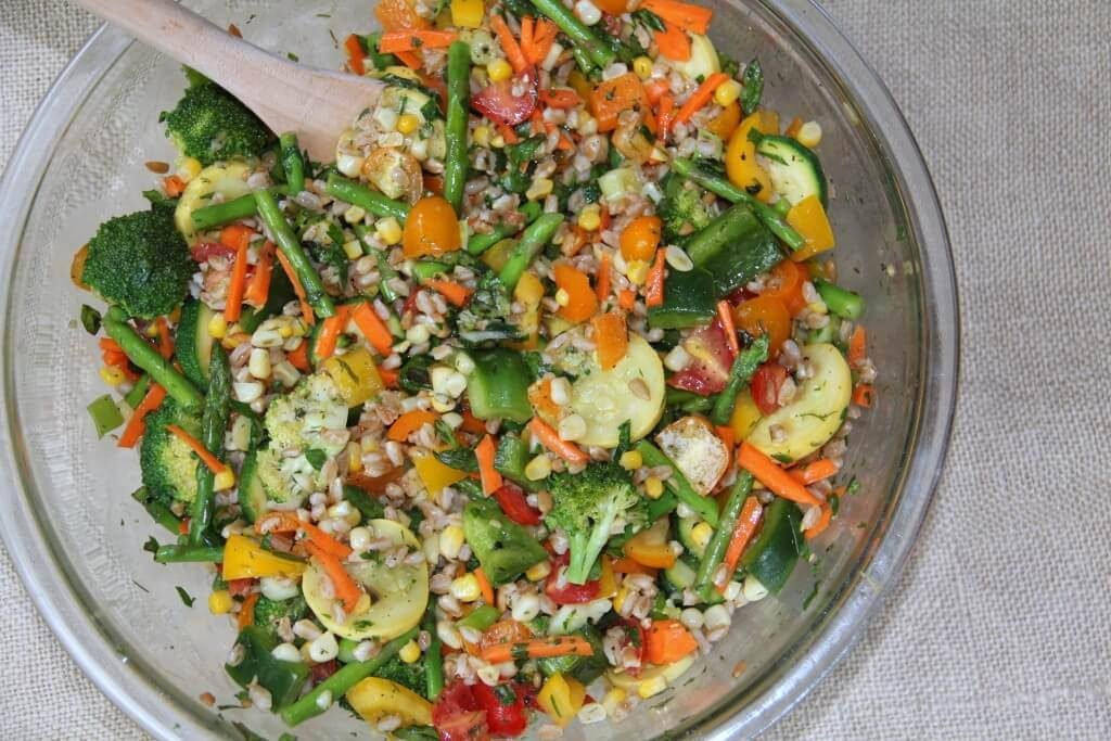 Farro and Vegetable Salad in a bowl