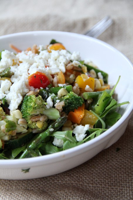 Serve vegetable salad over arugula with goat cheese | inasouthernkitchen.com
