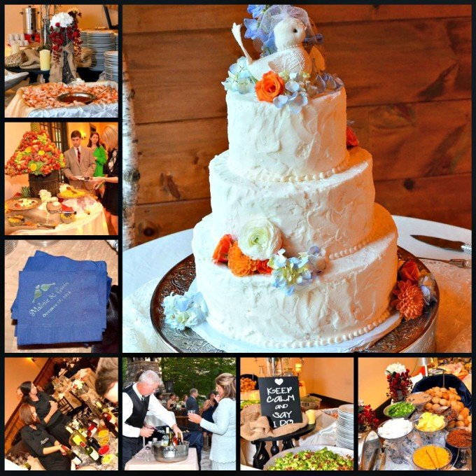 food and drink at rustic wedding reception